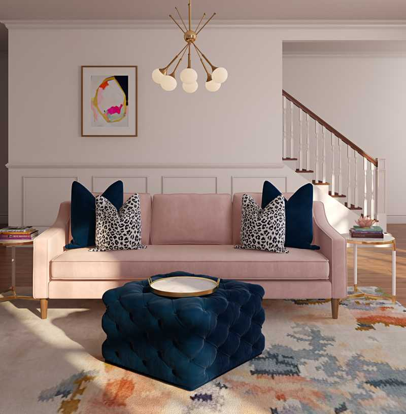 Contemporary, Preppy Living Room Design by Havenly Interior Designer Randi