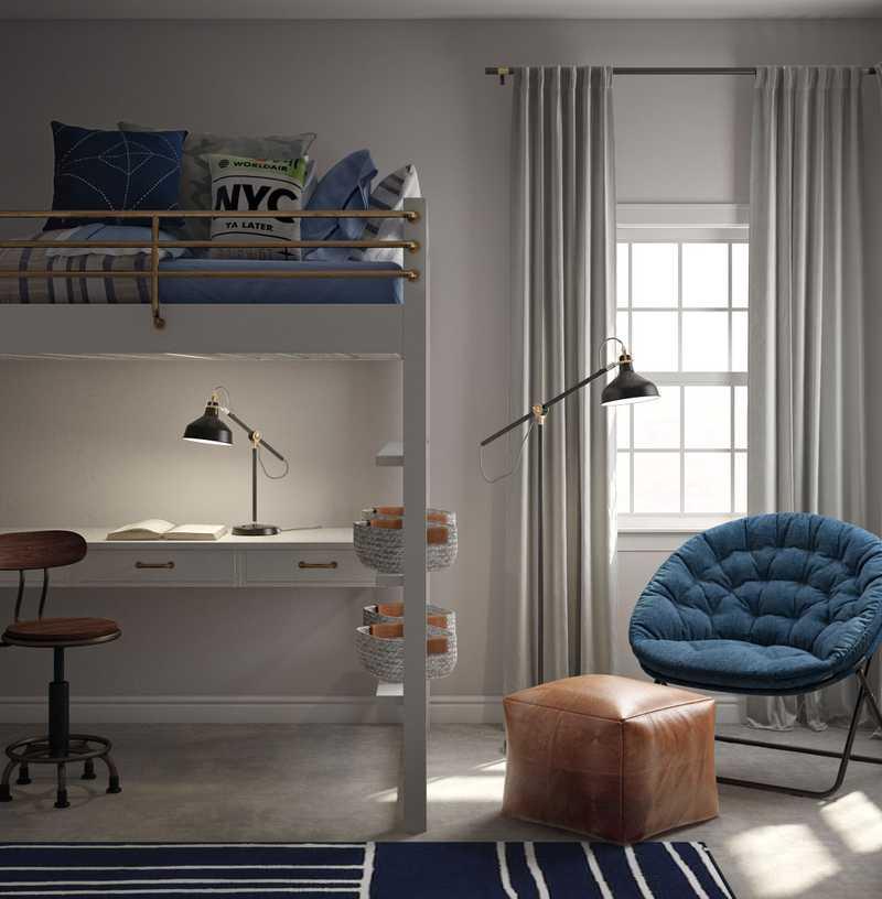 Midcentury Modern, Preppy Bedroom Design by Havenly Interior Designer Isabella