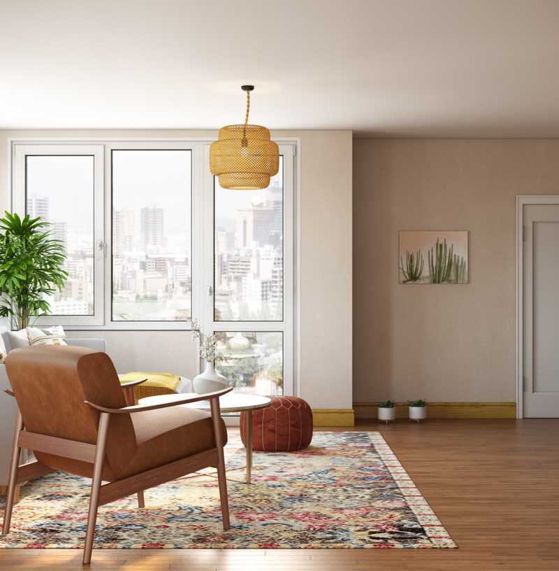 Eclectic, Bohemian, Midcentury Modern Living Room Design by Havenly Interior Designer Masooma