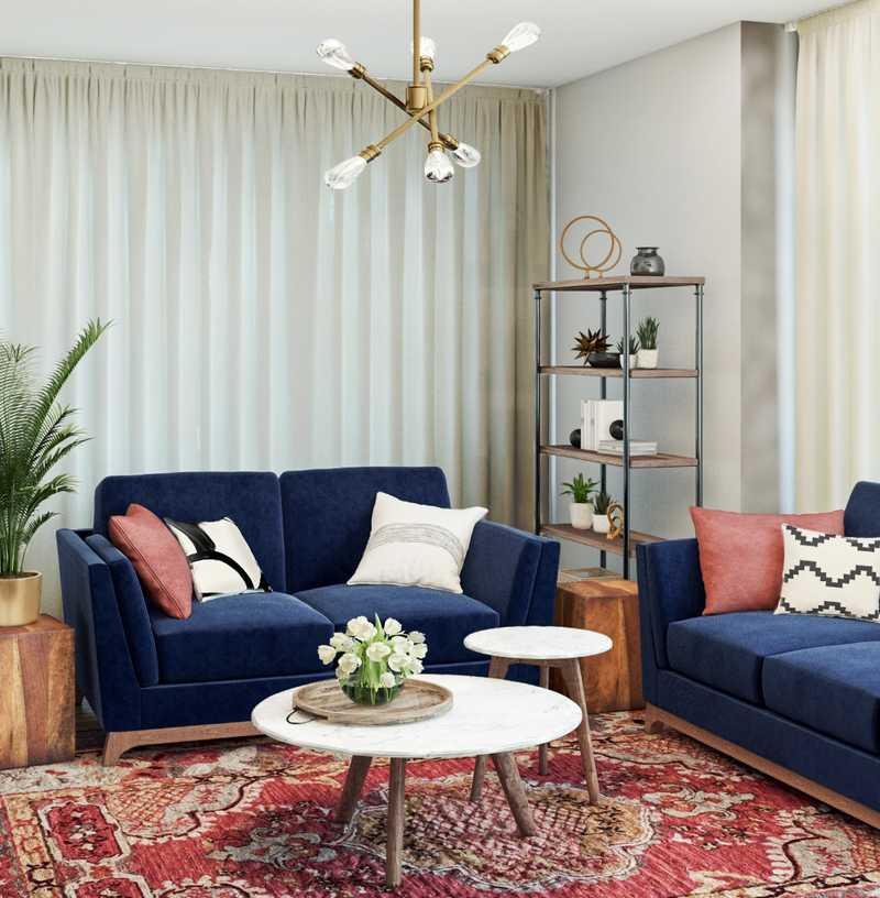 Eclectic, Bohemian, Midcentury Modern Living Room Design by Havenly Interior Designer Fendy