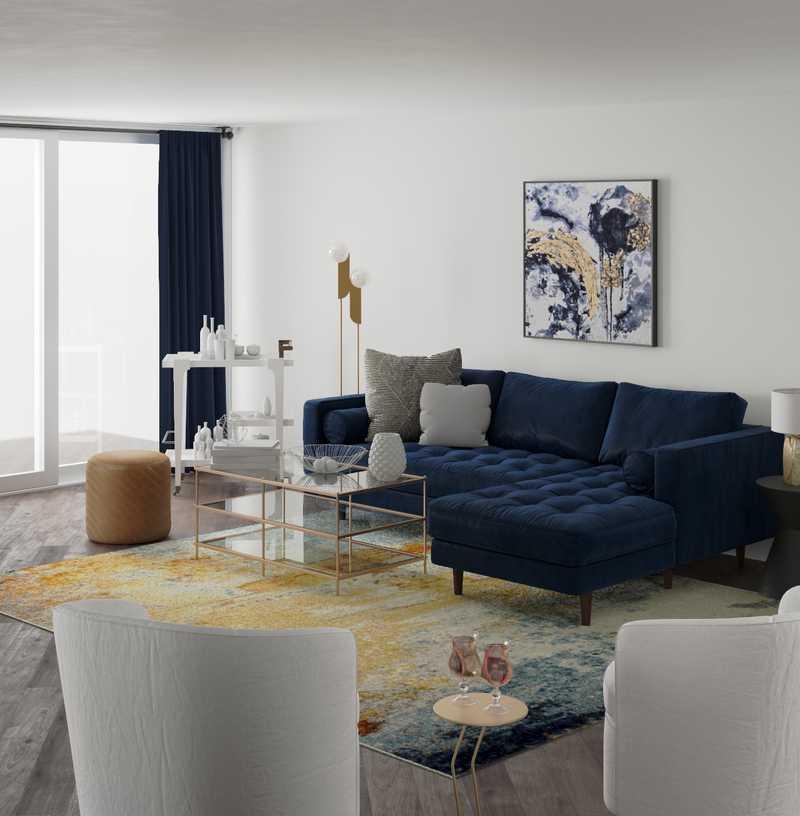 Modern, Glam, Midcentury Modern Living Room Design by Havenly Interior Designer Waleska