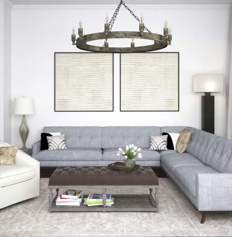 Contemporary, Classic, Rustic Living Room Design by Havenly Interior Designer Stephanie