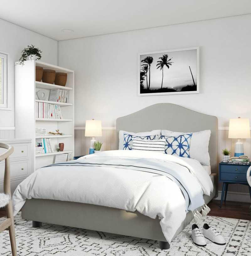 Bohemian, Coastal Bedroom Design by Havenly Interior Designer Kelsey