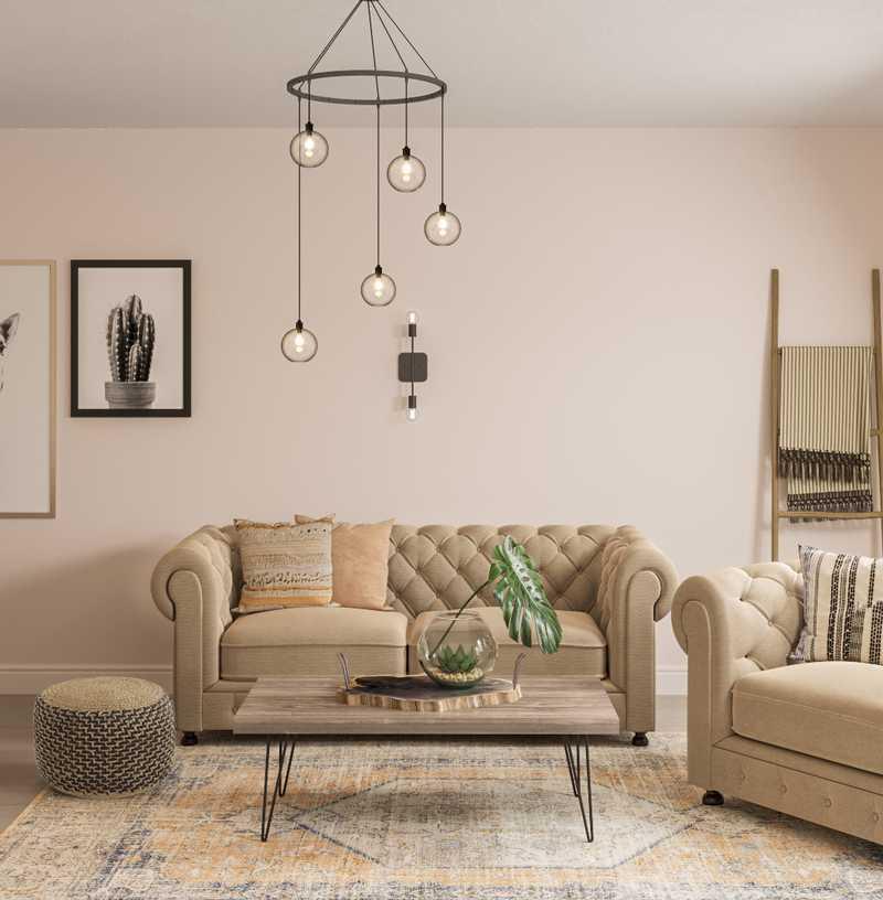 Bohemian, Midcentury Modern Living Room Design by Havenly Interior Designer Edith