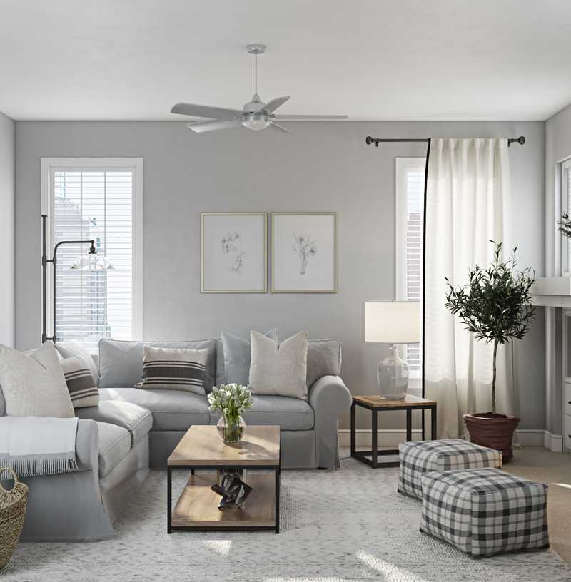 Classic, Farmhouse, Transitional Living Room Design by Havenly Interior Designer Luisa