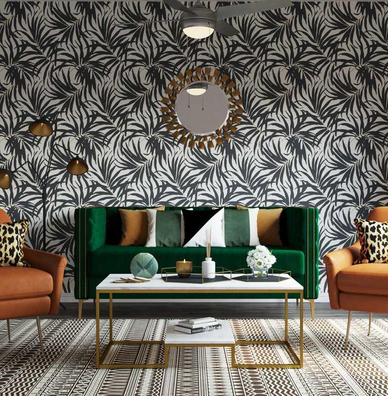 Bohemian, Glam Living Room Design by Havenly Interior Designer Hagar