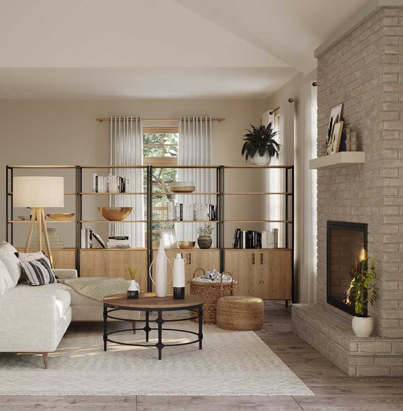 Bohemian, Farmhouse, Transitional Living Room Design by Havenly Interior Designer Ana