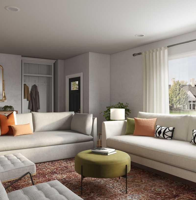 Bohemian, Midcentury Modern Living Room Design by Havenly Interior Designer Carla