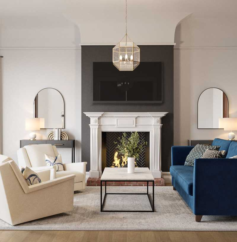 Contemporary, Modern, Classic Living Room Design by Havenly Interior Designer Stacy