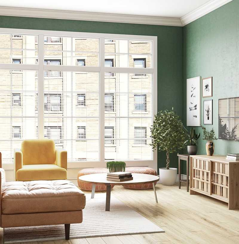 Eclectic, Bohemian, Midcentury Modern Living Room Design by Havenly Interior Designer Carla