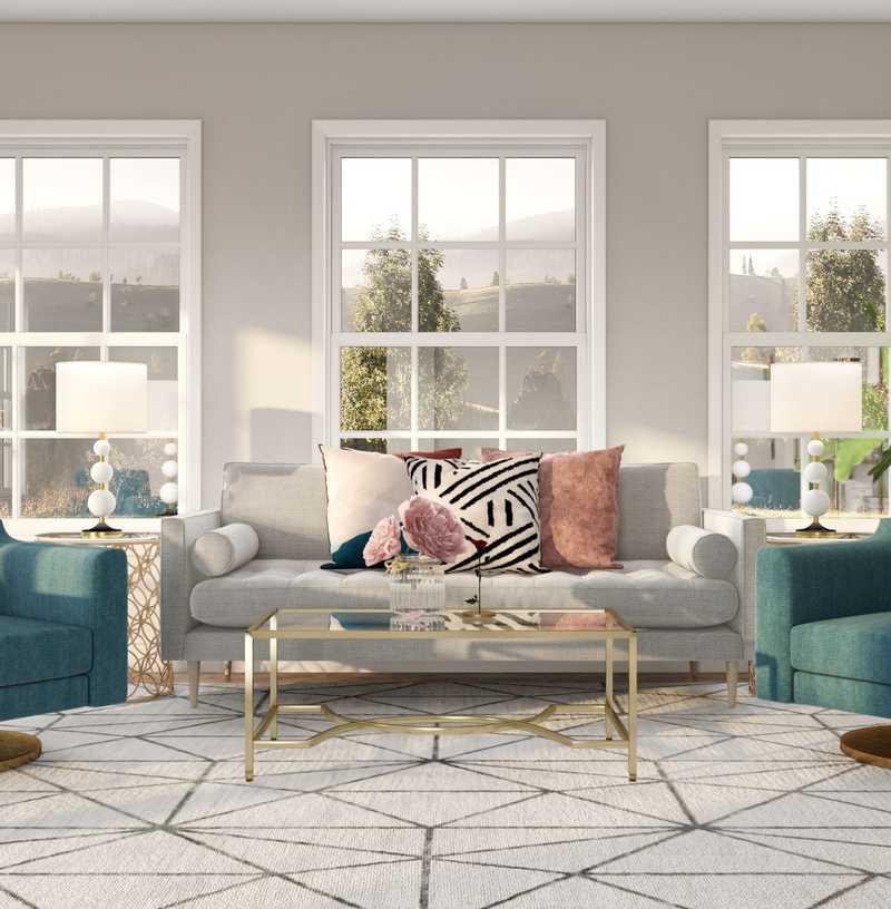 Glam, Preppy Living Room Design by Havenly Interior Designer Austin