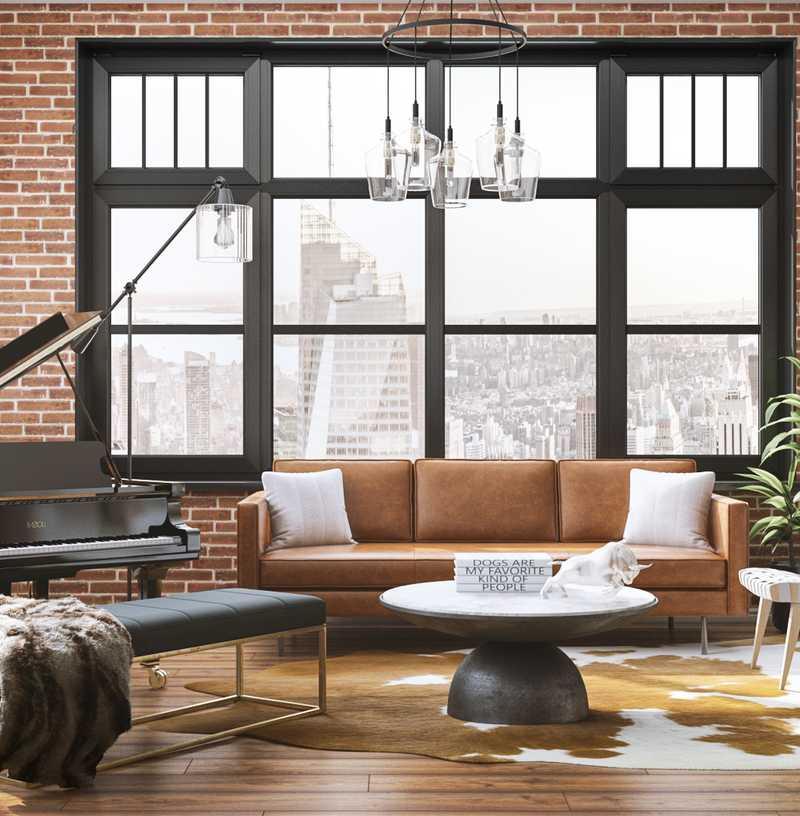 Industrial Living Room Design by Havenly Interior Designer Monica