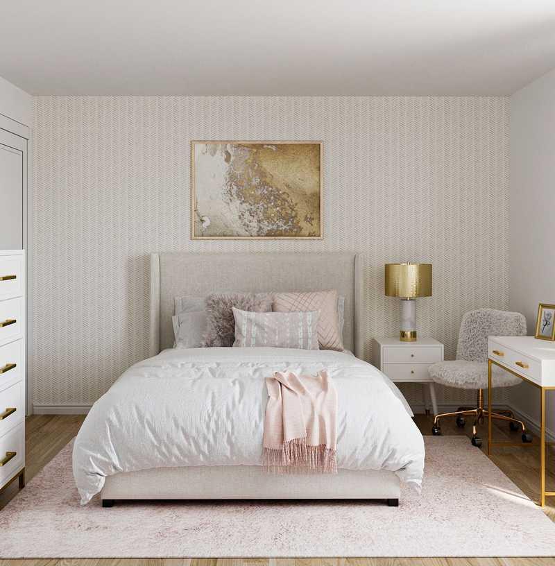 Glam, Preppy Bedroom Design by Havenly Interior Designer Shauna