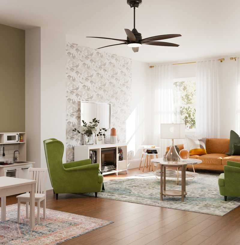 Contemporary, Modern, Classic, Eclectic, Bohemian, Farmhouse, Global, Midcentury Modern Living Room Design by Havenly Interior Designer Marina