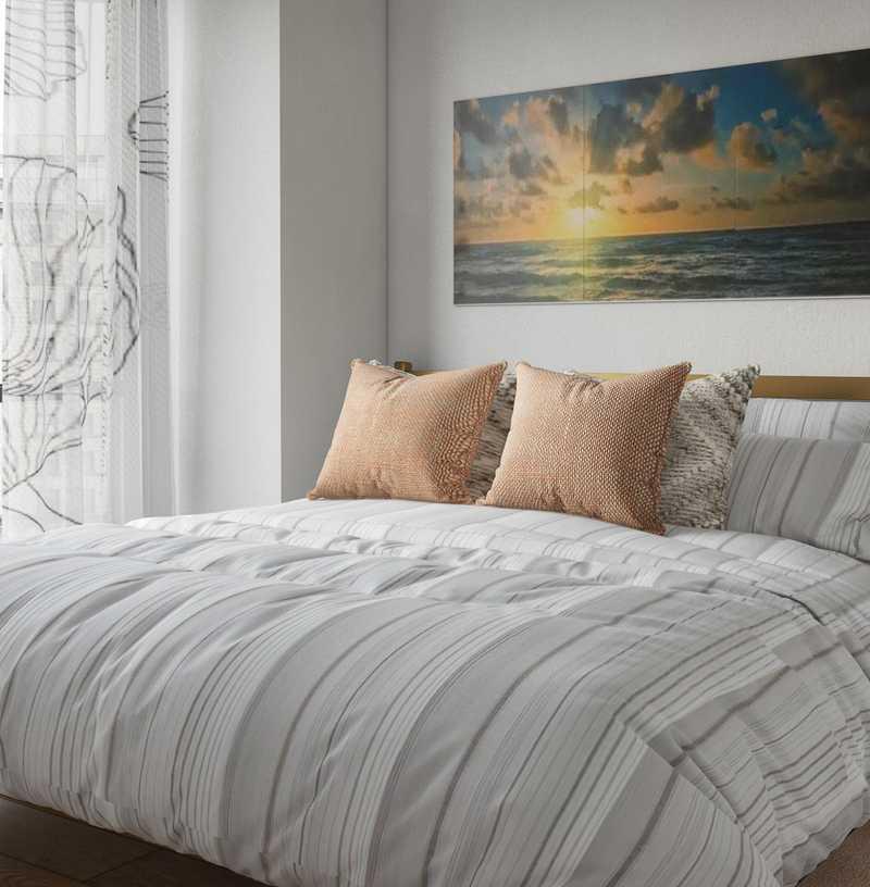 Bohemian, Glam, Midcentury Modern Bedroom Design by Havenly Interior Designer Carla