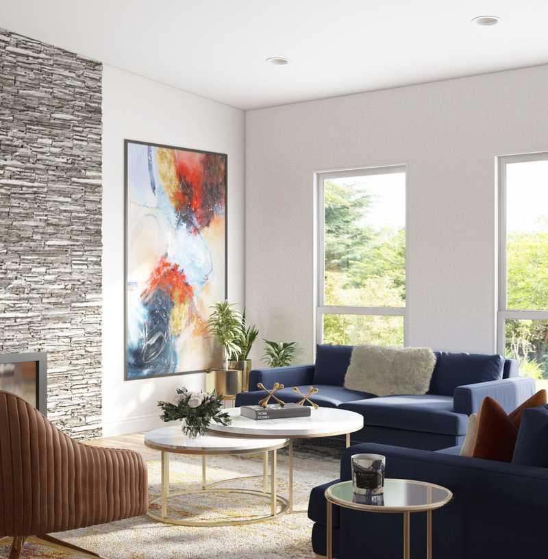 Contemporary, Modern, Eclectic, Glam, Midcentury Modern Living Room Design by Havenly Interior Designer Shalene