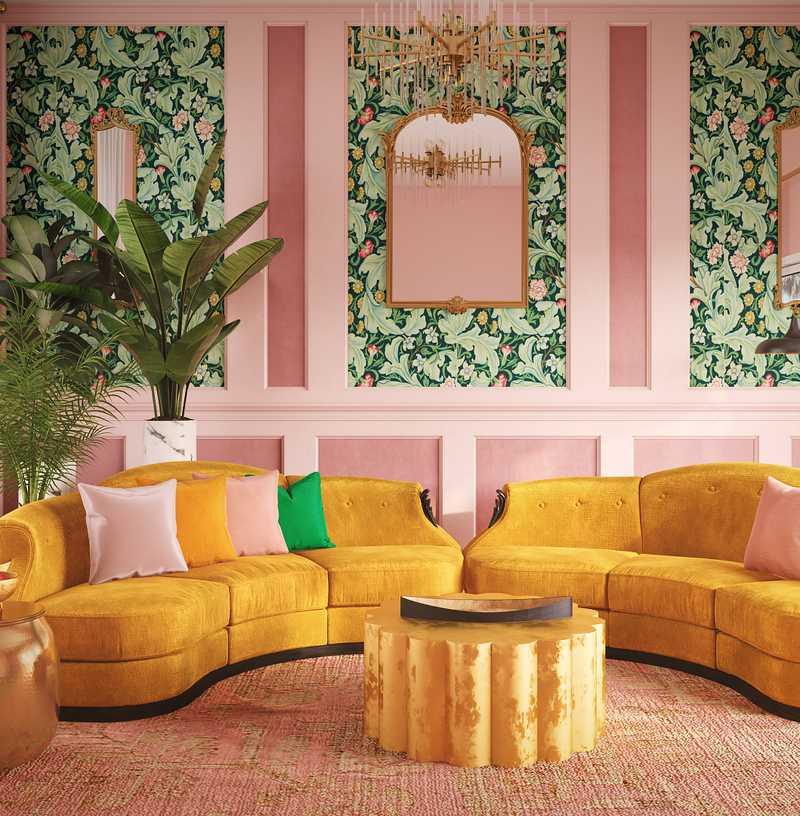 Eclectic, Bohemian, Glam Living Room Design by Havenly Interior Designer Samantha