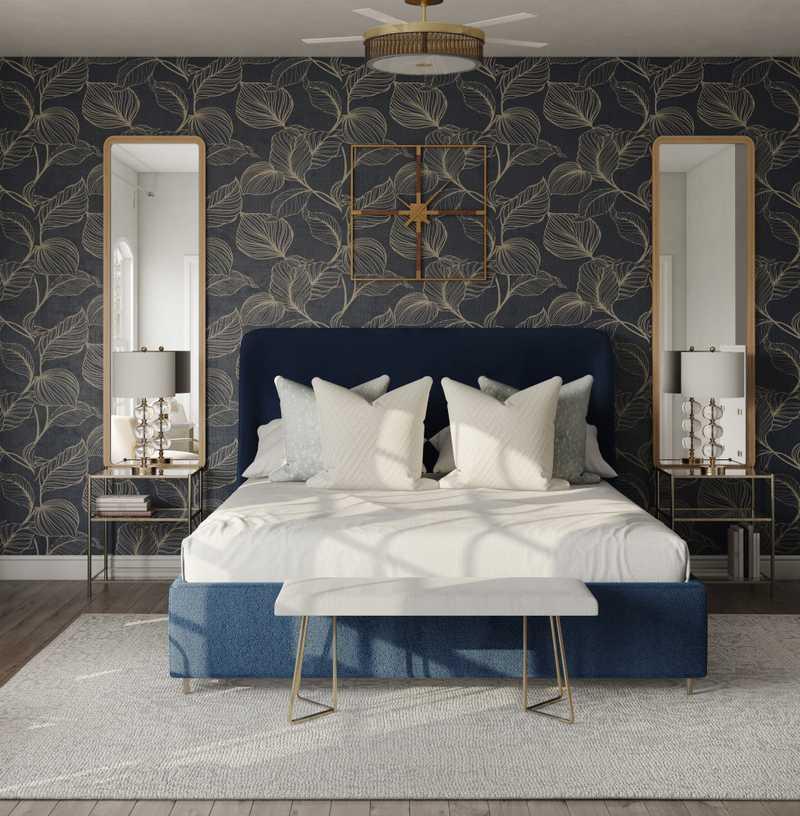 Glam, Midcentury Modern, Preppy Bedroom Design by Havenly Interior Designer Marisol