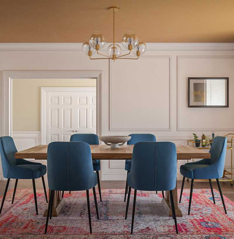 Bohemian, Midcentury Modern Dining Room Design by Havenly Interior Designer Erin