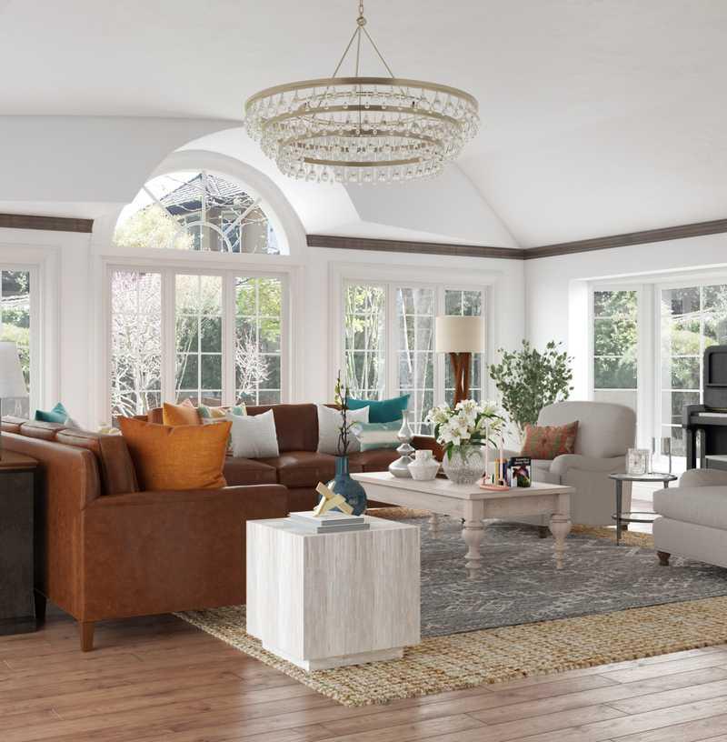 Traditional, Farmhouse Living Room Design by Havenly Interior Designer Elle