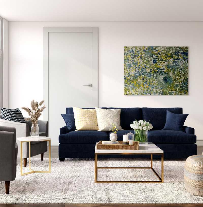 Contemporary, Modern, Coastal, Farmhouse Living Room Design by Havenly Interior Designer Mariela