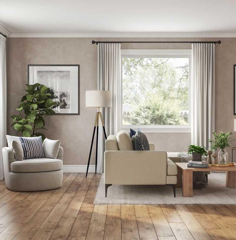 Contemporary, Modern, Farmhouse Living Room Design by Havenly Interior Designer Athina