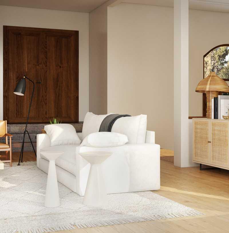 Modern, Bohemian, Coastal, Transitional Living Room Design by Havenly Interior Designer Elle