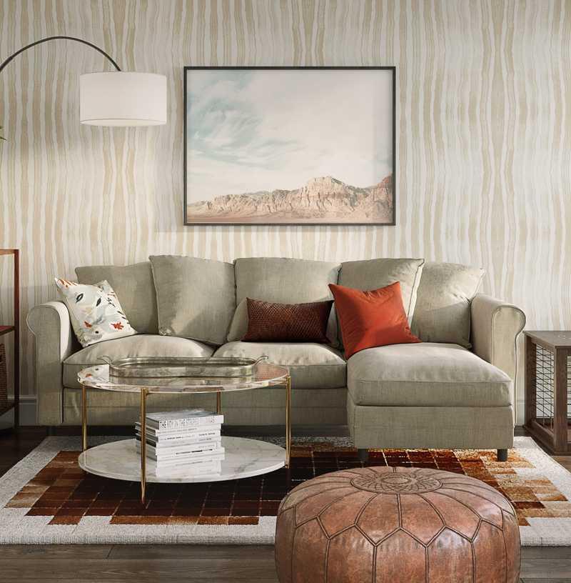 Modern, Eclectic, Bohemian, Global, Southwest Inspired, Midcentury Modern Living Room Design by Havenly Interior Designer Michelle
