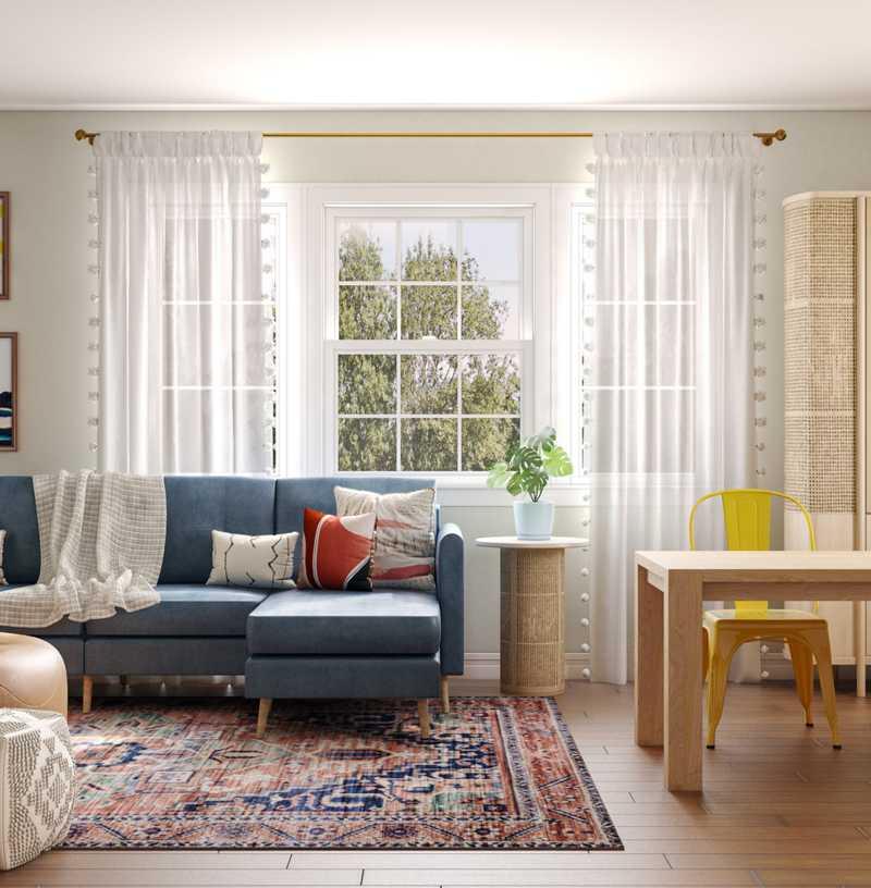 Bohemian, Midcentury Modern Living Room Design by Havenly Interior Designer Gabrielle