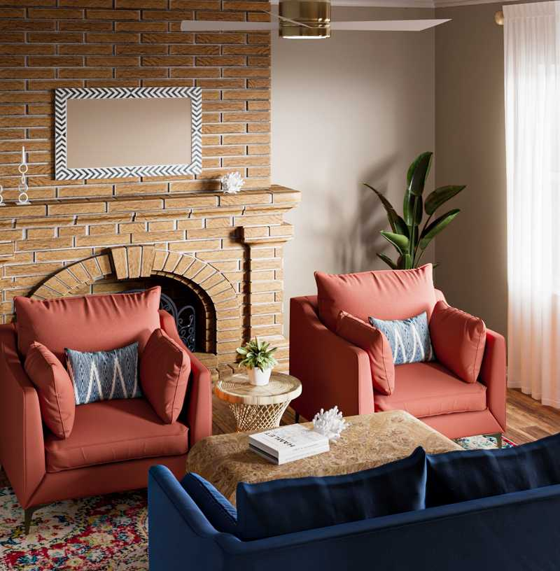 Coastal, Glam, Preppy Living Room Design by Havenly Interior Designer Carly