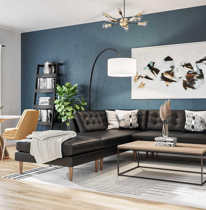 Modern, Industrial, Midcentury Modern Living Room Design by Havenly Interior Designer Freddi