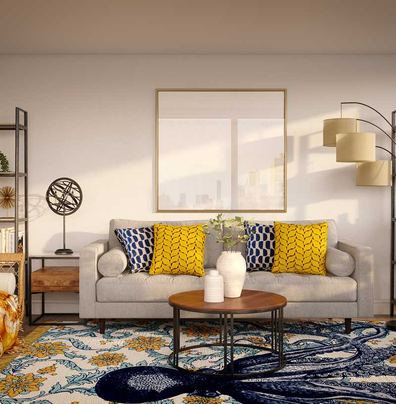 Eclectic, Bohemian, Midcentury Modern Living Room Design by Havenly Interior Designer Veridiana
