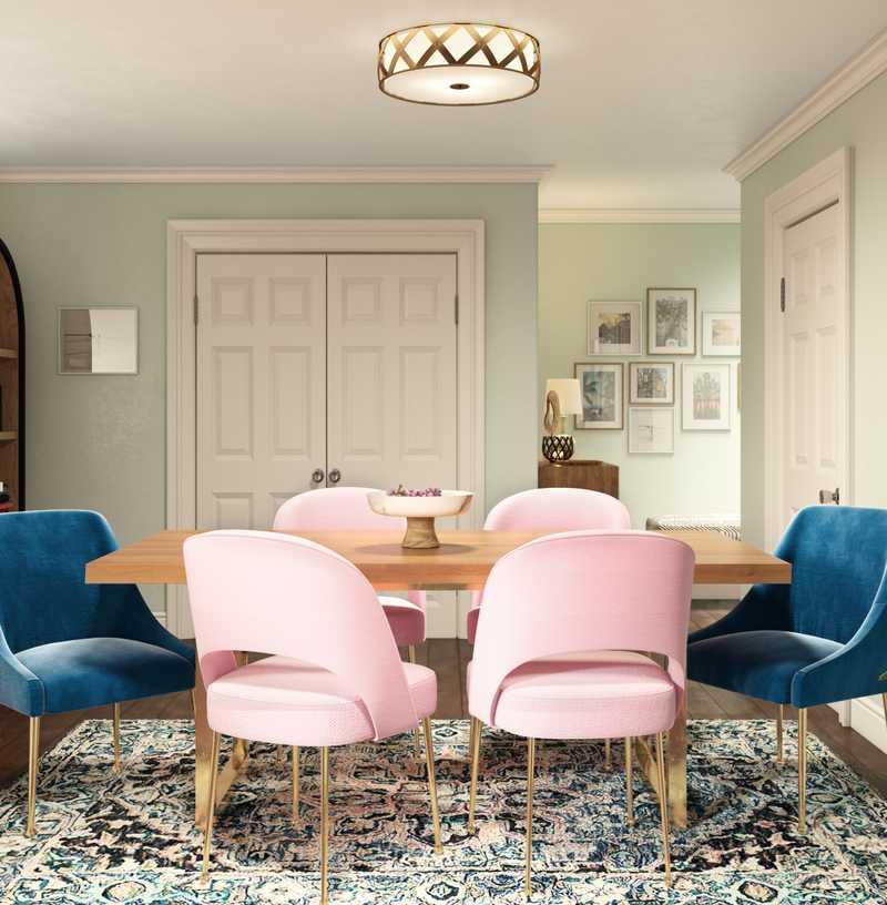 Bohemian, Glam, Transitional Dining Room Design by Havenly Interior Designer Samantha