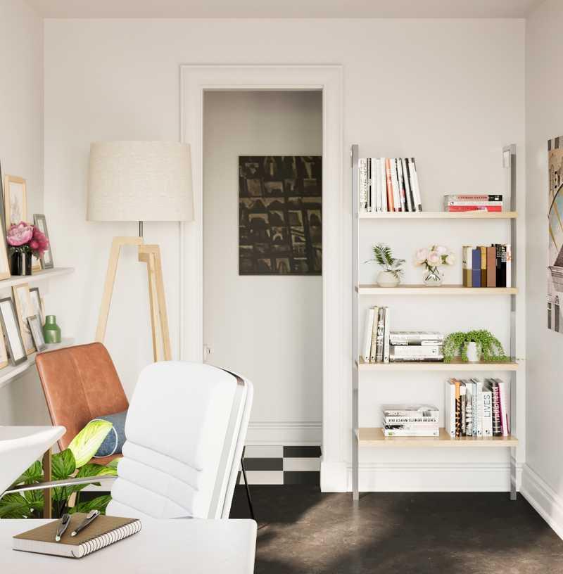 Bohemian, Coastal, Scandinavian Office Design by Havenly Interior Designer Carla