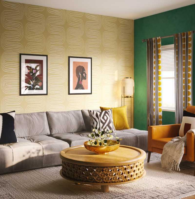 Eclectic, Midcentury Modern Living Room Design by Havenly Interior Designer Freddi