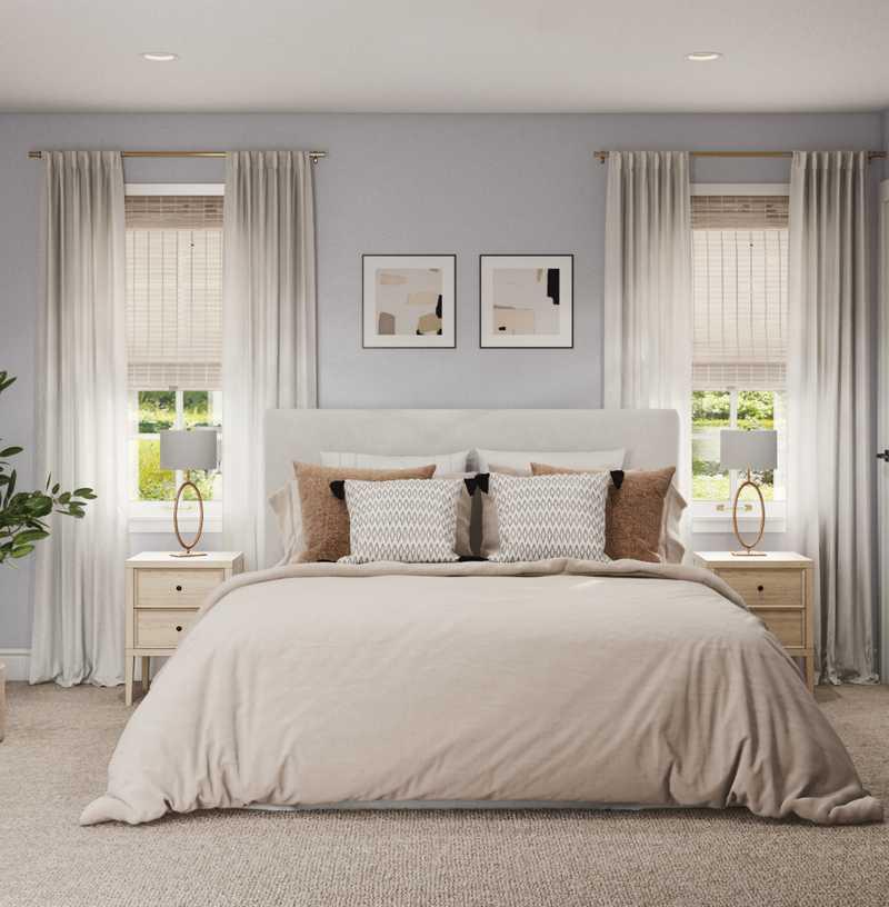 Bohemian, Midcentury Modern Bedroom Design by Havenly Interior Designer Courtney