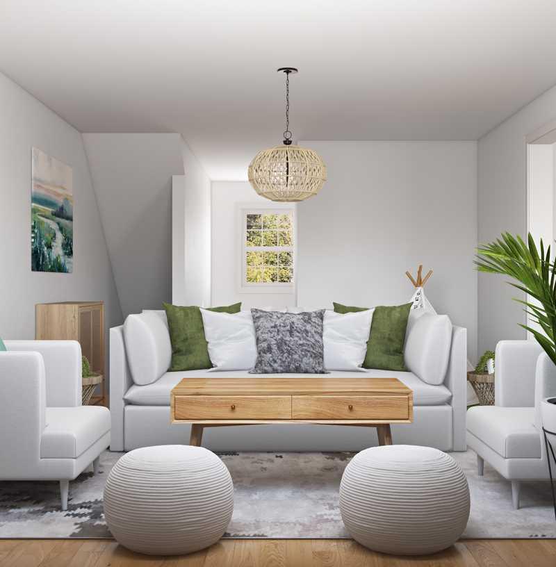 Coastal, Midcentury Modern Living Room Design by Havenly Interior Designer Stephanie