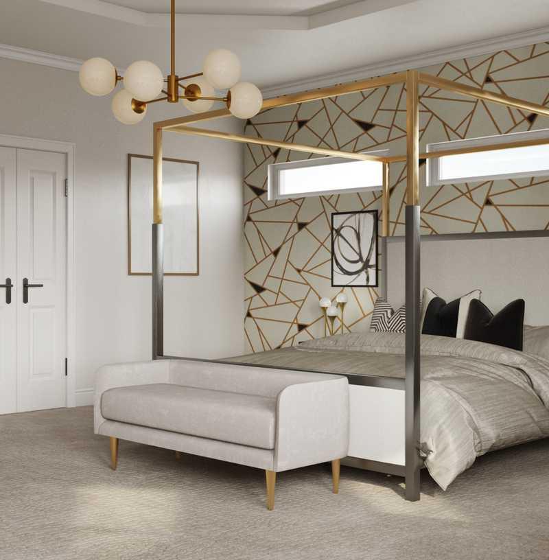 Glam, Minimal Bedroom Design by Havenly Interior Designer Toussaint