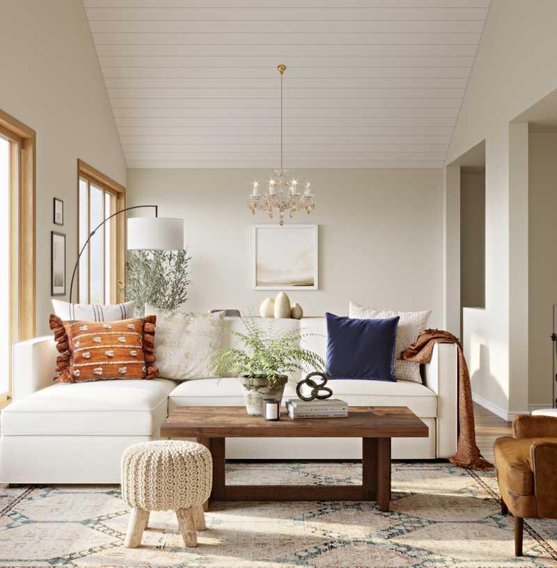 Contemporary, Modern, Bohemian, Rustic, Transitional, Midcentury Modern, Scandinavian Living Room Design by Havenly Interior Designer Lisa