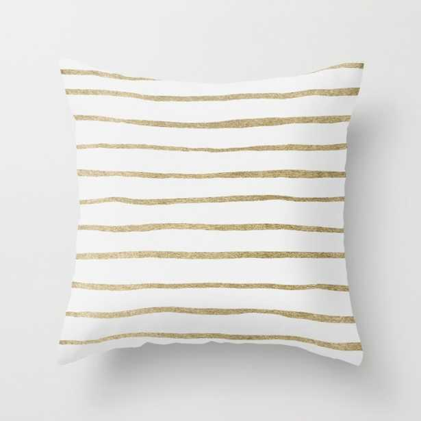 """Gold Stripes Indoor Pillow - 18"""" x 18"""" - Down Insert - Society6"""