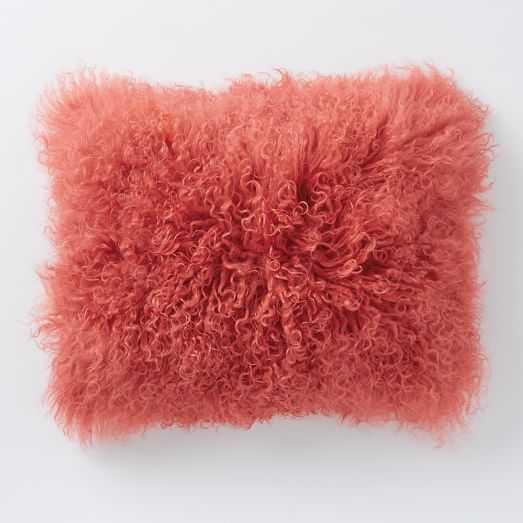 "Mongolian Lamb Pillow Cover - Poppy (12"" x 16"")- Insert (sold separately - West Elm"