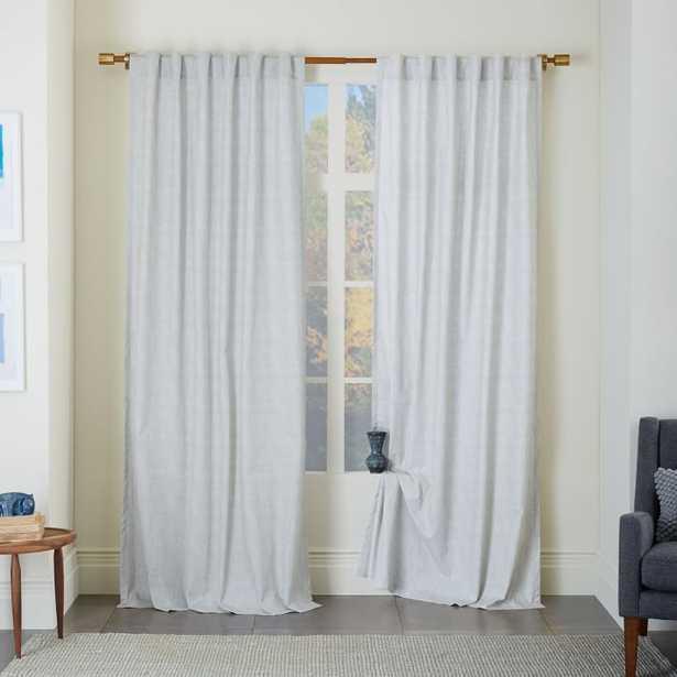 """Cotton Canvas Chambray Print Curtain - Platinum - 108"""" - West Elm"""