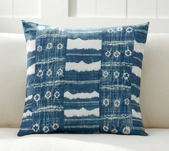 Zuma Stripe Indoor/Outdoor Pillow - BLUE- 22x22, With Insert - Pottery Barn