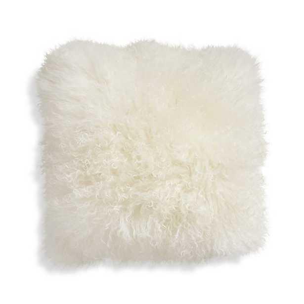 Pelliccia Mongolian Lamb Fur Pillow - Ivory, 16x16, Feather Insert - Crate and Barrel