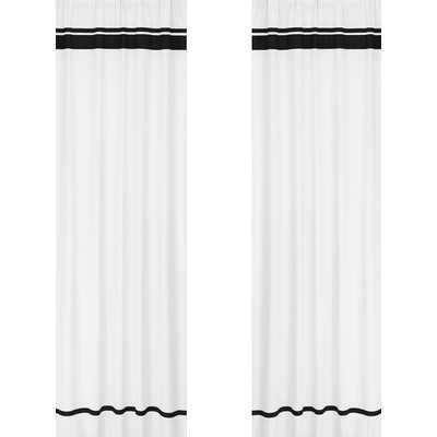 "Hotel Cotton Rod Pocket Window Curtain Panel - White / Black - 84"" L x 42"" W - Wayfair"