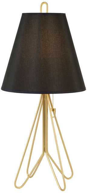 Flight Gold Table Lamp with Black Silk Glow Shade - Lamps Plus