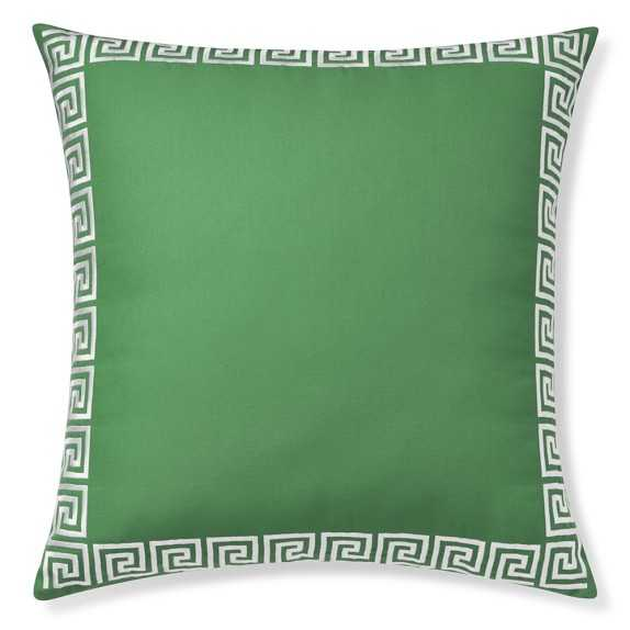 """Outdoor Greek Key Embroidered Pillow, Emerald - 22"""" sq. - polyfill - Williams Sonoma"""