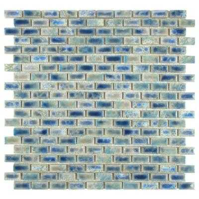 Rustica Subway Neptune Blue 11-3/4 in. x 11-3/4 in. x 6 mm Glazed Porcelain Mosaic Floor and Wall Ti - Home Depot