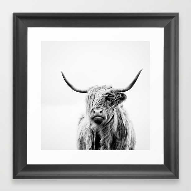 "Portrait of a highland cow- 1FRAMED ART PRINT/SCOOP BLACK MINI (12"" X 12"") - Society6"