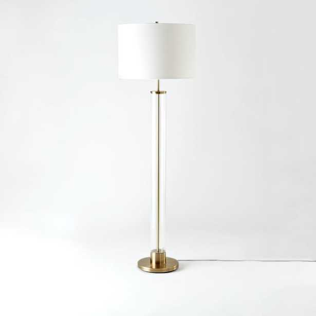 Acrylic Column Floor Lamp - Antique Brass - West Elm